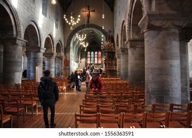 Stavanger, Norway, November 5th 2019: Interior of Stavanger Cathedral in Stavanger, Norway