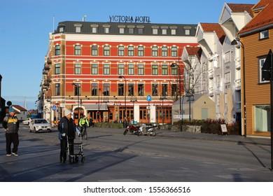 Stavanger, Norway, November 5th 2019: Victoria Hotel in Stavanger, Norway