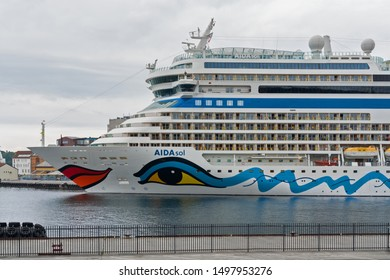 Stavanger, Norway - Sep 6, 2019: Aida Sol cruise liner in Stavanger sea port. Travel transportation concept.