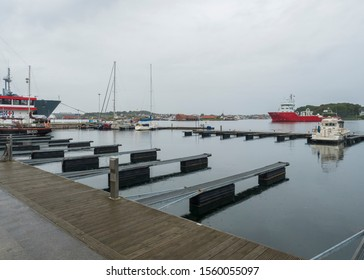 STAVANGER, NORWAY, SEPTEMBER 9, 2019 : view of the buildings and ship at Port quay in the city centre of Stavanger. Stavanger is one of most famous cruise travel destinations in Europe.