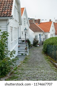 Stavanger Old Town with beautiful white wooden houses.