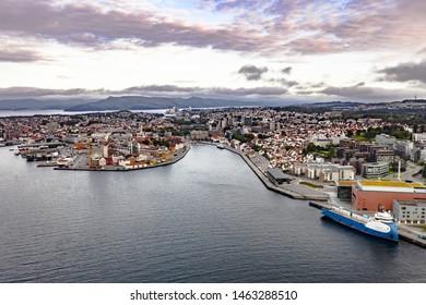 Stavanger, Rogaland / Norway, 07.15.2019: Aerial cityscape of Stavanger sentrum, Norway.