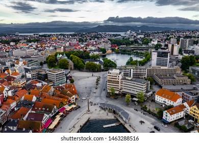 Stavanger, Rogaland / Norway, 07.15.2019: Aerial view of Stavanger centre and breiavannet
