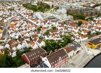 Stavanger, Rogaland / Norway, 07.15.2019: Aerial view of Old Stavanger, Gamle Stavanger.