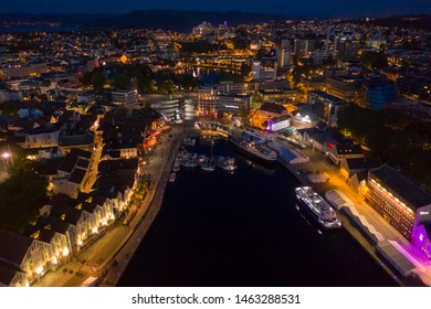 Stavanger, Rogaland / Norway, 07.19.2019: Evening cityscape of Stavanger sentrum, Norway.