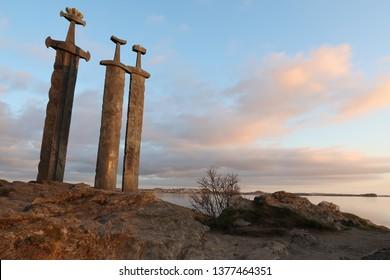 Stavanger swords sunset