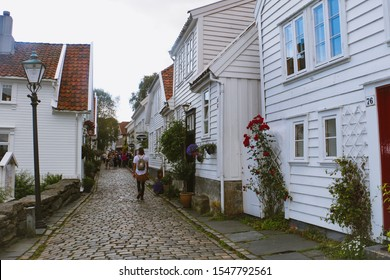 Stavanger/Norway - August 30, 2015: Historic wooden houses in Stavanger.  Old town in Stavanger is a popular touristic attraction.