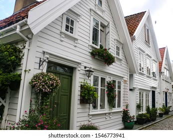 Stavanger/Norway - August 30, 2015: Traditional wooden houses in Gamle Stavanger.  Old town in Stavanger is a popular touristic attraction.
