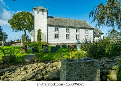 Stavanger,Norway-September 17, 2019: Revheim Church in autumn season.t is located in the village of Kvernevik in the borough of Madla in the city of Stavanger.