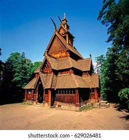 Stave church in Oslo, Norway