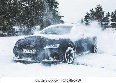 Stavern, Vestfold / Norway - January 20, 2018: Audi A7 drifting on snow
