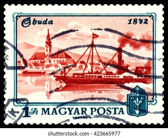 STAVROPOL, RUSSIA - APRIL 28, 2016: a stamp printed by Hungary, shows  Buda, river Danube, Centenary of inification of Obuda, Buda and Pest into Budapest, circa 1972