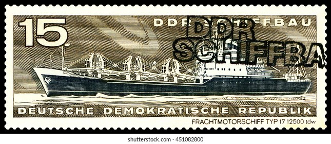 STAVROPOL, RUSSIA - JULY 06, 2016: a stamp printed by  Germany, shows  Freighter, type 17,  circa 1971