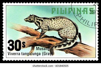 STAVROPOL, RUSSIA - March 09, 2017: A stamp printed by Philippines shows  Malay palm civet, Philippine animals, circa 1979.