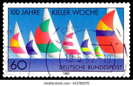 STAVROPOL, RUSSIA - May  04 , 2016: a stamp printed by Germany  shows  Kiel Regatta, Week Centenary, circa 1982