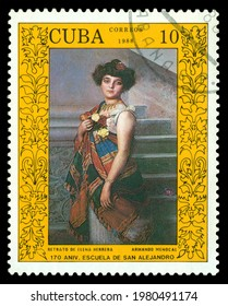 STAVROPOL, RUSSIA - May  26.  2021:  A stamp printed by Cuba  shows portrait Elena Herrera, by Armando Menocal, 170 years of the Academy of Arts of San Alejandro in the Havana, circa 1988.