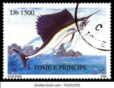 STAVROPOL, RUSSIA - November 21.2017: A stamp printed in Sao Tome and Principe  shows Sailboat (fish), Istiophorus Platypterus,  ,  circa 1996