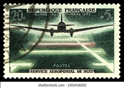STAVROPOL, RUSSIA - October 14 2018: a stamp printed by FRANCE shows Aircraft and runway, series, circa 1959