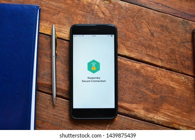 Stavropol, Russian Federation. July 1, 2019. Smartphone with mobile application Secure VPN end Proxy- Kaspersky
