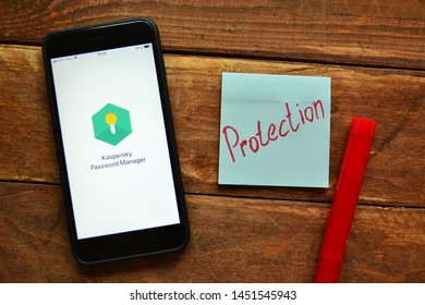 Stavropol, Russian Federation. July 1, 2019. Smartphone with mobile application Kaspersky Password Manager