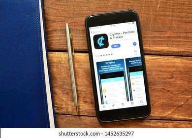 Stavropol, Russian Federation. July 16, 2019. Smartphone with mobile application Cryptex - Portfolio and Tracker