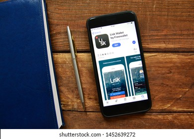 Stavropol, Russian Federation. July 16, 2019. Smartphone with mobile application Lisk Wallet by Freewallet