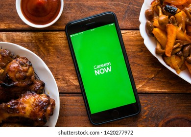 Stavropol, Russian Federation. July 9, 2019. Smartphone with mobile application Careem NOW: Food delivery