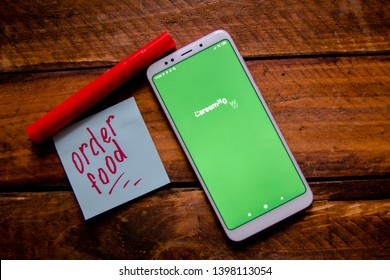 Stavropol, Russian Federation. May 13, 2019. Smartphone with mobile food delivery application Careem NOW food delivery