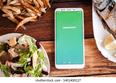 Stavropol, Russian Federation. May 15, 2019. Smartphone with mobile food delivery application Careem NOW