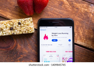 Stavropol, Russian Federation. May 27, 2019. Smartphone with mobile application Weight Loss Running by Verv