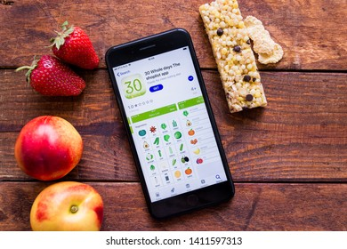 Stavropol, Russian Federation. May 28, 2019. Smartphone with mobile application 30 whole day The Shoplist app