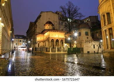 Stavropoleos Church by night, Bucharest. Old town tourist attraction in Romania