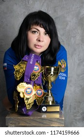 Stavropol/Russua - August 26 2018: World champion in taekwondo Tagiyev Natalia shows the gold medal won at the World Championships in South Africa in August 2018.