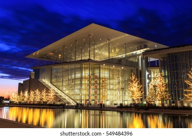 Stavros Niarchos foundation cultural center, park and Greek National Opera on sunset