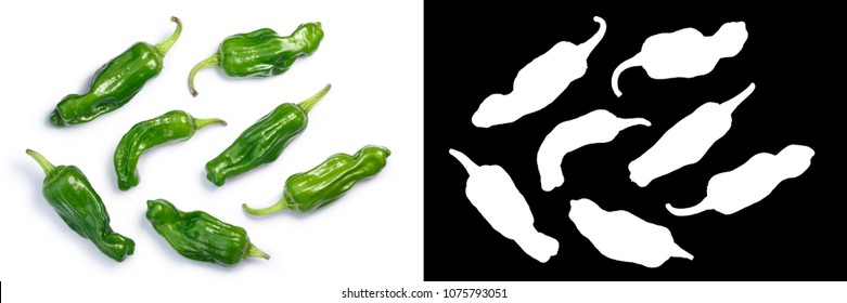 Stavros pickling peppers known as Greek, Tuscan pepperoncini or friggitelli. Top view, clipping paths