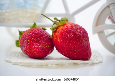 Stawberries on the white background