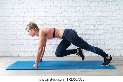 Stay home. Home fitness. Young sportive woman doing mountain climber exercise at home