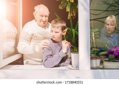 Stay home. Grandfahther and grandson together standing behind winndow full of plants. Concept of universal pandemic quarantine. Sun glare effect.