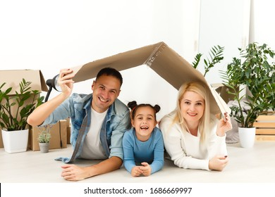 Stay Home Safe Campaign. A happy european family remained at quarantine self-isolation. Pandemic coronavirus covid 19 responsibility conscious decision.