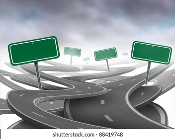 Stay on course symbol as a dilemma and concept of losing control of ones goals and strategic journey choosing the right strategic path for business with blank green traffic signs tangled roads.
