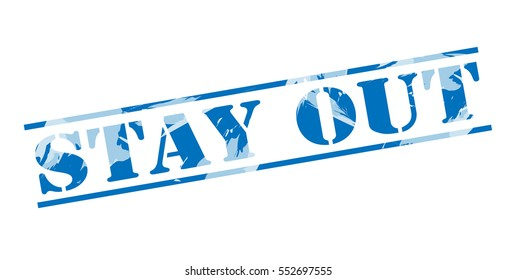 stay out blue stamp on white background