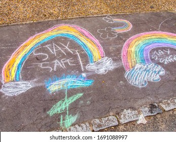 Stay Safe Chalk Drawing on Pavement Made by children - Shutterstock ID 1691088997