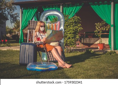 Staycations,Social distance. gen z travels alone suitcase to the covid 19 coronavirus pandemic, isolation, tourism,new normal.Staycations, hyper-local travel, Road trip,getaway, natural environment