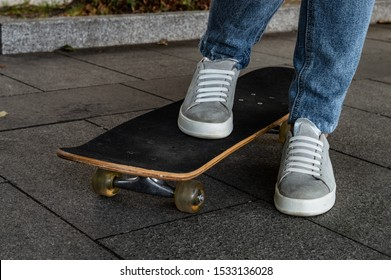staying at skateboard concrete walkway
