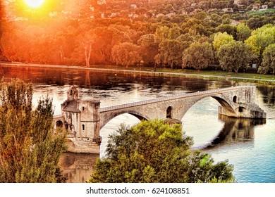 St.-Benezet bridge in Avignon, south of France on sundown