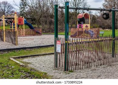 st.Catharines/Canada-04.17.2020: The playground is closed during the coronavirus epidemic.