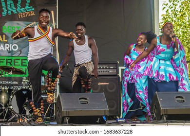 ST.Catharines/Canada/07-21-2019 THE TD NIAGARA JAZZ FESTIVAL, NEEMA CHILDREN`S CHOIR. A group of black children performs African folk music and dance.