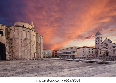 St.Donatus church, Church of St. Mary's and Museum of Church Art on the Roma Forum in Zadar. Croatia.
