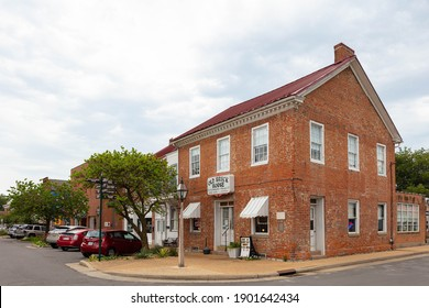 Ste. Genevieve, Missouri, USA - August 29, 2020: Historic buildings at the 3rd and Market St.