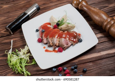 Steak chopped with ketchup